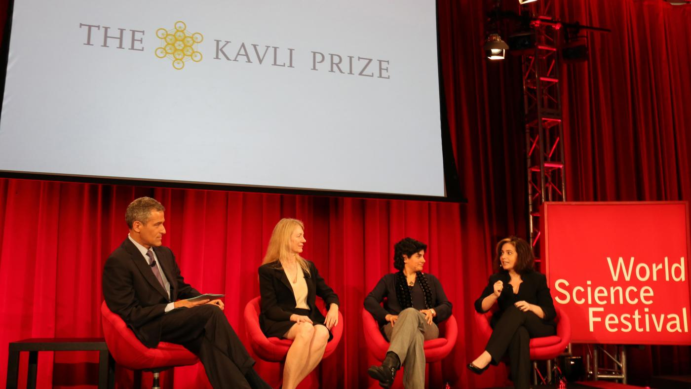 Richard Besser on stage with winners of 2016 Kavli Prize including Cornelia Bargmann, Nergis Mavalvala, and Michal Lipson