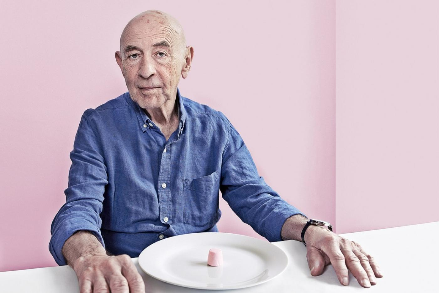 Walter Mischel, PhD with marshmallows that helped elucidate his theories on willpower